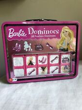 Barbie Fashion Dominos Game in Lunch Box Tin Mattel 2009 28 Plastic Dominos