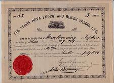 1899 Newfoundland Terra Nova Engine & Boiler Works Stock Certificate