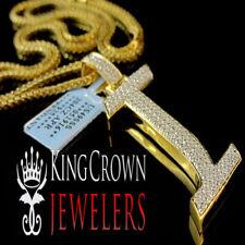 10K Yellow Gold Silver Initial Letter Alphabet I Pendant Diamonds Charm + Chain