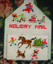 Holiday Mail Christmas Plastic Canvas needlepoint holder horse children playing