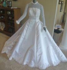 Mori Lee White Sheer Long Sleeve Empire Waist Bridal Gown Wedding Dress Size 8