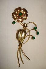 Vintage Harry Iskin 1/20 10 Kt G.F. Green Rhinestone and Flower Brooch or Pin