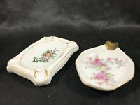 Pair of Vintage Porcelain Floral Ashtrays