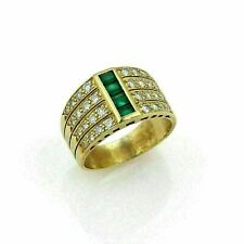 14K YELLOW GOLD FILLED ENGAGEMENT & WEDDING FOUR ROW MEN'S RING 2.1 CT EMERALD