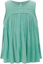 Monsoon Children Louisa Turquoise Green Top Age 7 - 8 Bnwt Gold Thread Lace Vest
