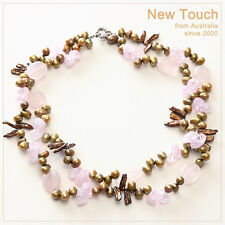 and pink necklace Fashion brown pearl