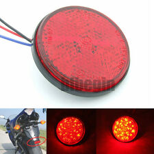 Car Motorcycle Red Round 24 LED Brake Turn Signal Stop Tail Lights reflectors