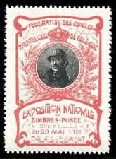 Belgium Poster Stamps - 1921 Philatelic Expo - Albert I - Art Nouveau - Red
