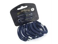 20 Piece Navy Blue Hair Elastic Band Bobble Snap Hair Clip Slide School Set