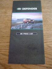 LANDROVER DEFENDER PRICE LIST  BROCHURE 1990/91 jm
