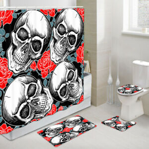 Skull and Red Rose Shower Curtains with Rug Set, Bath Rug & Toilet Mat 4PCS
