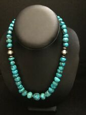 Native American Sterling Silver  Turquoise Bead Necklace 18 Inch