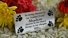 PERSONALISED ENGRAVED PET MEMORIAL PLAQUE PAWPRINT CORNERS SILVER 10X5CM(A02)OUR