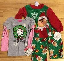 3T Hello Kitty Xtmas Wreath Shirt+Elf on the Shelf Long-Sleeved Flannel  PJ's 3T