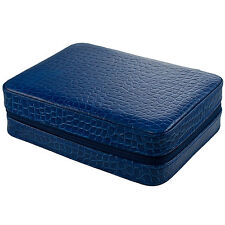 4 Watch Box Travel Case, Leather, Blue Crocodile LIMITED TIME SALE PRICE