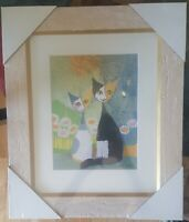 "Goebel Rosina Wachtmeister ""Two Friends"" Framed Glass Matted Cat Picture."