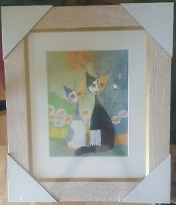 """Goebel Rosina Wachtmeister """"Two Friends"""" Framed Glass Matted Cat Picture."""
