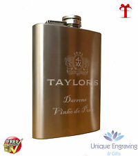 Personalised Photo / Text Engraved 3oz Stainless Steel Hip Flask - Fathers Day!