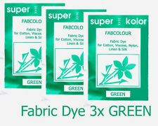 Fabric Dye for clothes GREEN 3 x pack Hand dyeing for Cotton +