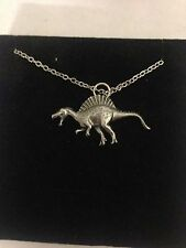 """Spinosaurus WE-SPINPPIN English Pewter on a Silver Platinum Plated Necklace 18"""""""