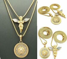 MENS NEW ICED OUT  GOLD MICRO MEDALLION AND ANGEL PENDANT BOX CHAIN NECKLACE SET