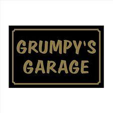 Grumpy's Garage - 160mm x 105mm Plastic Sign / Sticker - House, Garden, Pet