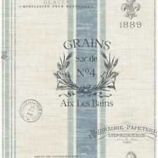 Wallpaper French Country Faux Wheat Grain Sacks with Blue and Green Stripes
