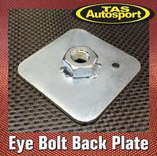 "FIA Harness Eye Bolt Back Plate 65mmx65mmx3mm 7/16"" UNF thread welded nut"