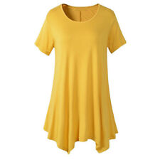 cd3b12274a Women Cotton Swing Short Sleeve Tunic Tops Blouses Loose.