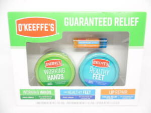 O'Keeffe's Guaranteed Relief Working Hands, Lip Balm & Healthy Feet Set - 3ct