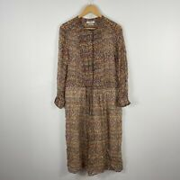 Isabel Marant Etoile Silk Dress Size 38 Multicoloured Floral Midi Long Sleeve