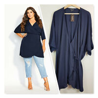 [ CITY CHIC ] Womens Navy Tunic Effortless Top NEW | Size M or AU 18 / US 14