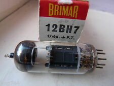 12BH7 BRIMAR BLACK  LADDER PLATE NO PRINT  NEW OLD STOCK   VALVE TUBE  F14