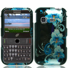 Straight Talk Samsung S390G Hard Case Snap On Phone Cover Blue Flowers Accessory