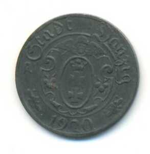 Poland Danzig Free City Zinc Token Coin 10 Pfennig 1920 XF SCARCE