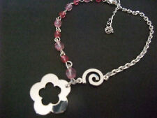 SILVER SWIRL FLOWER & PINK BEAD ANKLET ANKLE CHAIN new