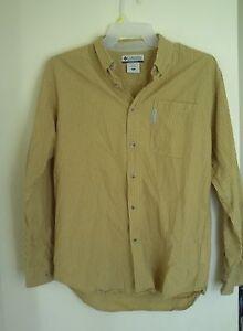 MENS COLUMBIA  YELLOW PLAID DRESS SHIRT  SZ M