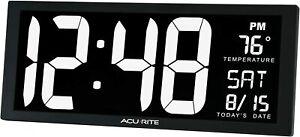 AcuRite Large Digital Desktop Clock With Indoor Temperature Calendar & Date NEW