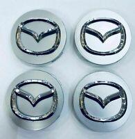 4 Pcs 56mm MAZDA Silver Wheel Center Caps Logo Emblem Badge Hub Caps Rim Caps