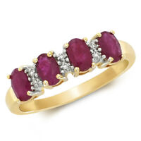 9ct Yellow Gold Ruby and Diamond Half Eternity Ring LARGE SIZES