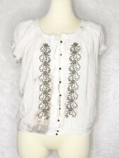 Fever Small Medium White Tan Tie Dye Boho Chic Top Embroider