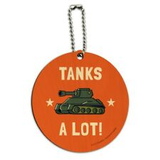 Tanks A Lot Thanks Funny Humor Round Wood Luggage Card Suitcase Carry-On ID Tag