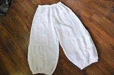Myo - Lagenlook Rizado Pantalones Bombachos lino Bolsos Snow-white talla 2 44/46