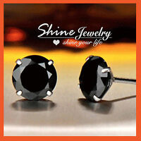 925 STERLING SILVER MENS WOMENS PUNK BLACK CRYSTAL CLAW ROUND STUD EARRINGS GIFT
