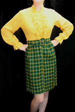 S MOD VTG 60s NOS Space Age GOLD TUXEDO RUFFLE GREEN PLAID SECRETARY DRESS