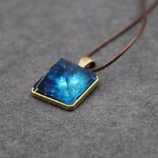 Unisex Luminous Pyramid Fancy Sky Star Glow In The Dark Pendant Leather Necklace