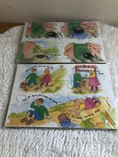 Vintage wooden Jigsaw Puzzle Nursery Rhyme 12 pcs Jack n Jill Incy Winky Spider