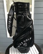 Vintage Nike Golf Black Faux Leather Golf Bag Carry Cart Retro Embroidered Logo