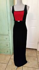 PAPELL BOUTIQUE EVENING, STRETCHY SLEEVELESS BLACK & RED VELVET MAXI DRESS, 6