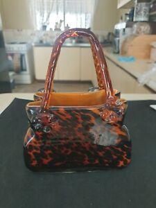 Vintage Murano Style Art Glass Handbag - Leopard